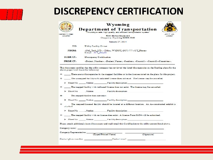 DISCREPENCY CERTIFICATION