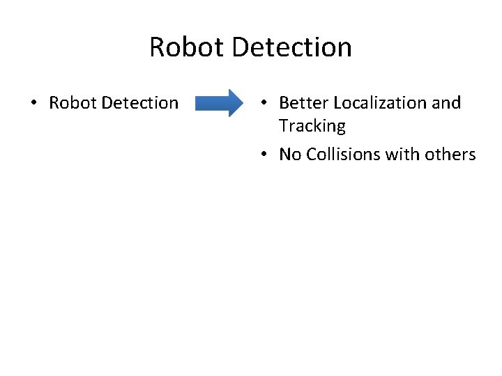 Robot Detection • Robot Detection • Better Localization and Tracking • No Collisions with