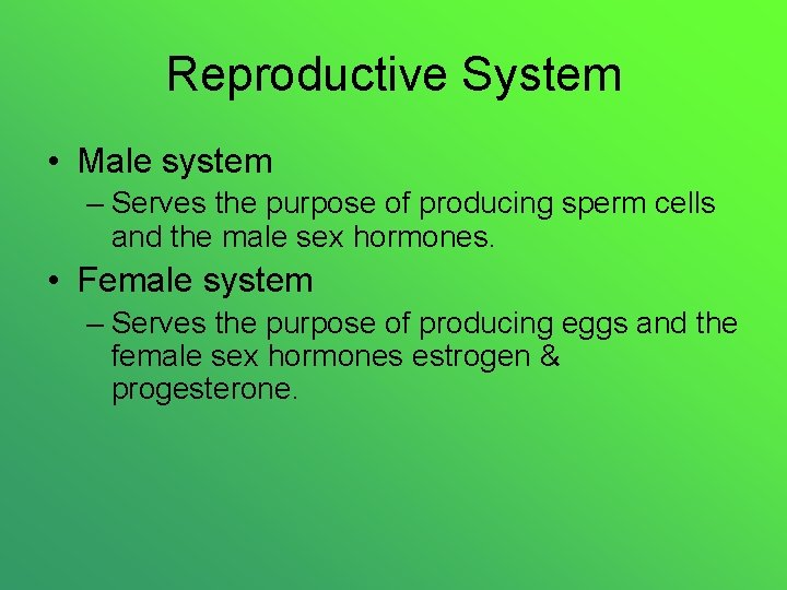 Reproductive System • Male system – Serves the purpose of producing sperm cells and