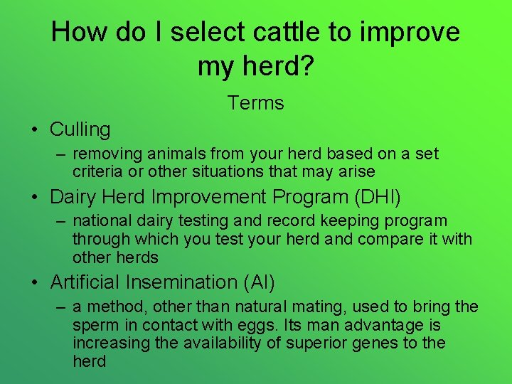 How do I select cattle to improve my herd? Terms • Culling – removing