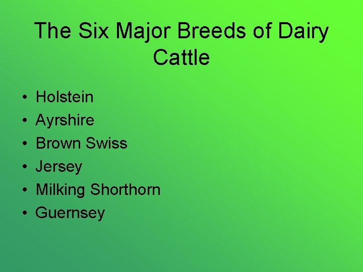 The Six Major Breeds of Dairy Cattle • • • Holstein Ayrshire Brown Swiss