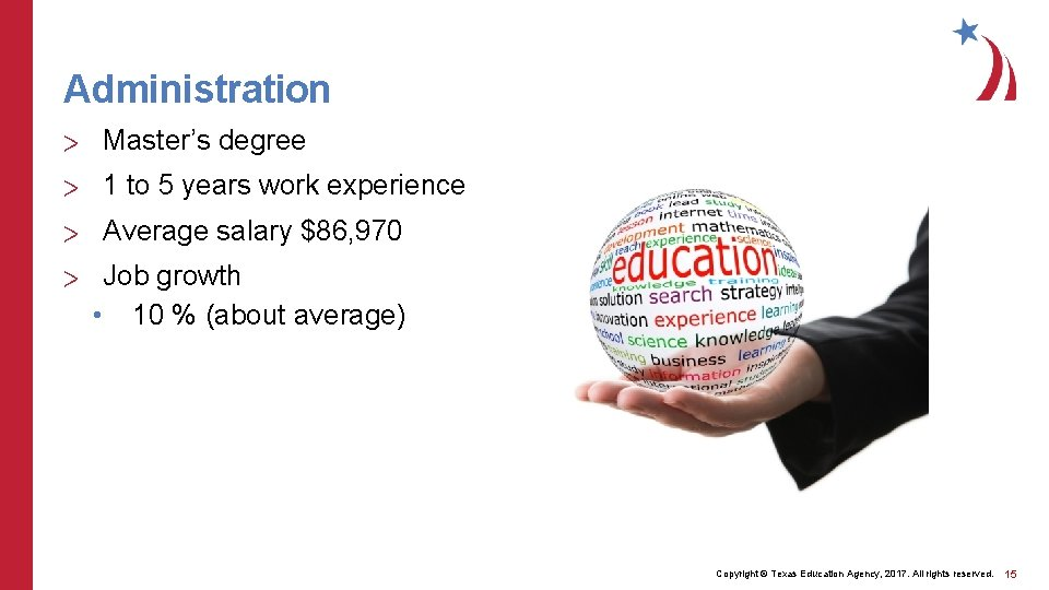 Administration > Master's degree > 1 to 5 years work experience > Average salary