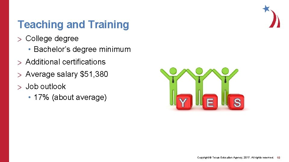 Teaching and Training > College degree • Bachelor's degree minimum > Additional certifications >