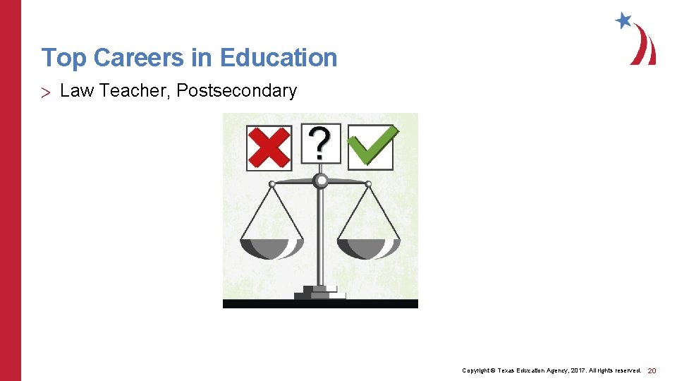 Top Careers in Education > Law Teacher, Postsecondary Copyright © Texas Education Agency, 2017.