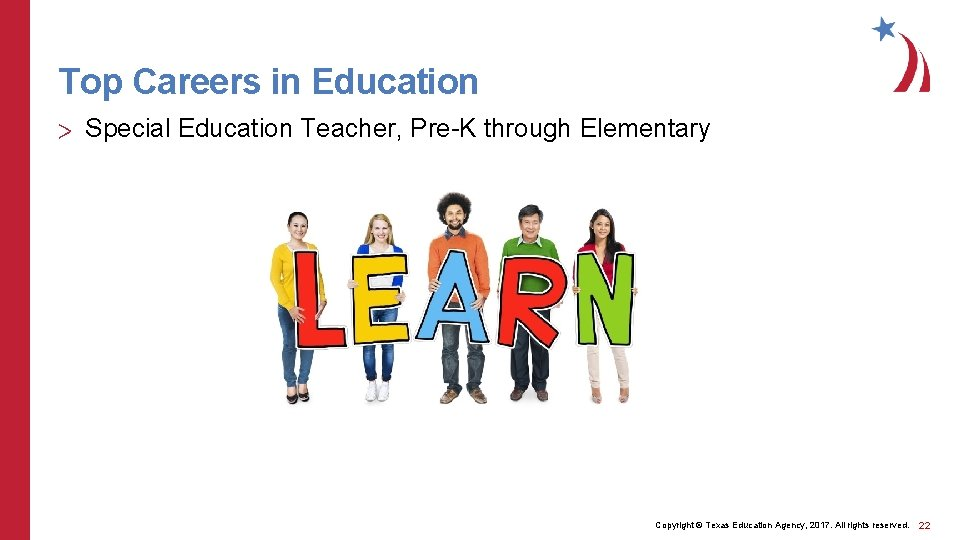 Top Careers in Education > Special Education Teacher, Pre-K through Elementary Copyright © Texas