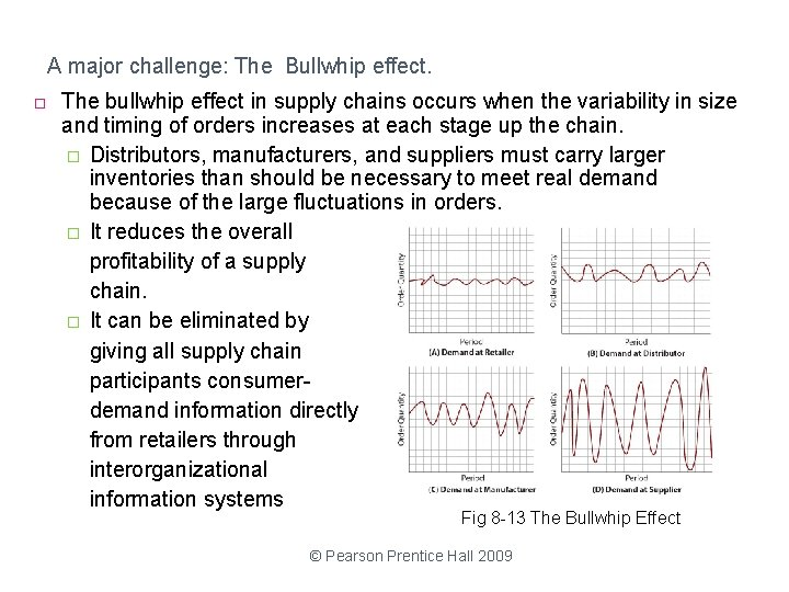 A major challenge: The Bullwhip effect. The bullwhip effect in supply chains occurs when