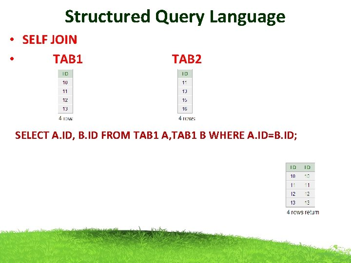 Structured Query Language • SELF JOIN • TAB 1 TAB 2 SELECT A. ID,