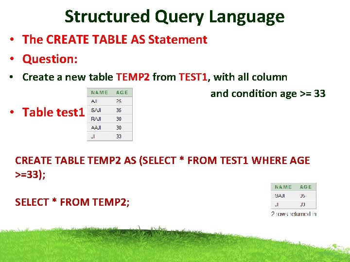 Structured Query Language • The CREATE TABLE AS Statement • Question: • Create a