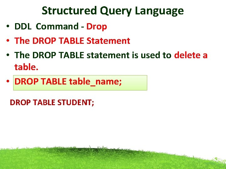 Structured Query Language • DDL Command - Drop • The DROP TABLE Statement •