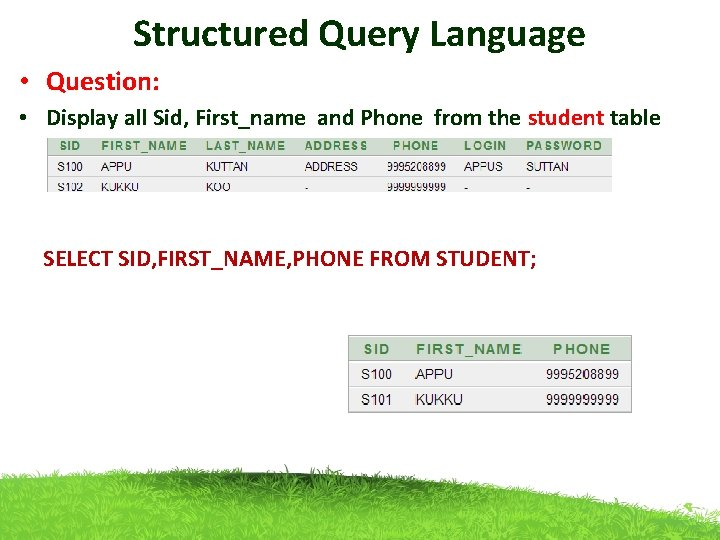 Structured Query Language • Question: • Display all Sid, First_name and Phone from the