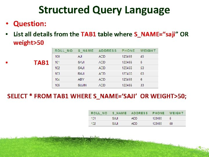 Structured Query Language • Question: • List all details from the TAB 1 table
