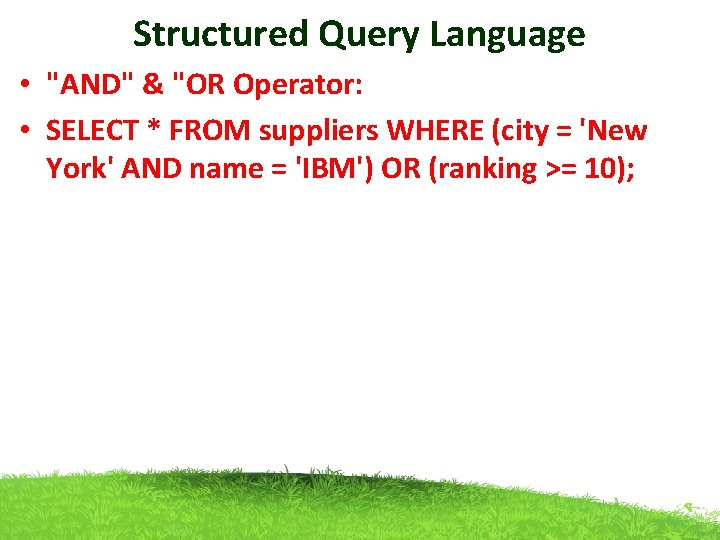 """Structured Query Language • """"AND"""" & """"OR Operator: • SELECT * FROM suppliers WHERE"""