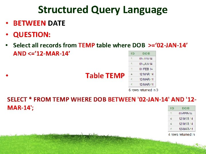 Structured Query Language • BETWEEN DATE • QUESTION: • Select all records from TEMP