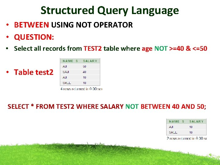 Structured Query Language • BETWEEN USING NOT OPERATOR • QUESTION: • Select all records