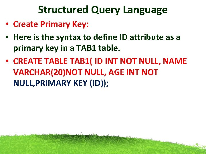 Structured Query Language • Create Primary Key: • Here is the syntax to define