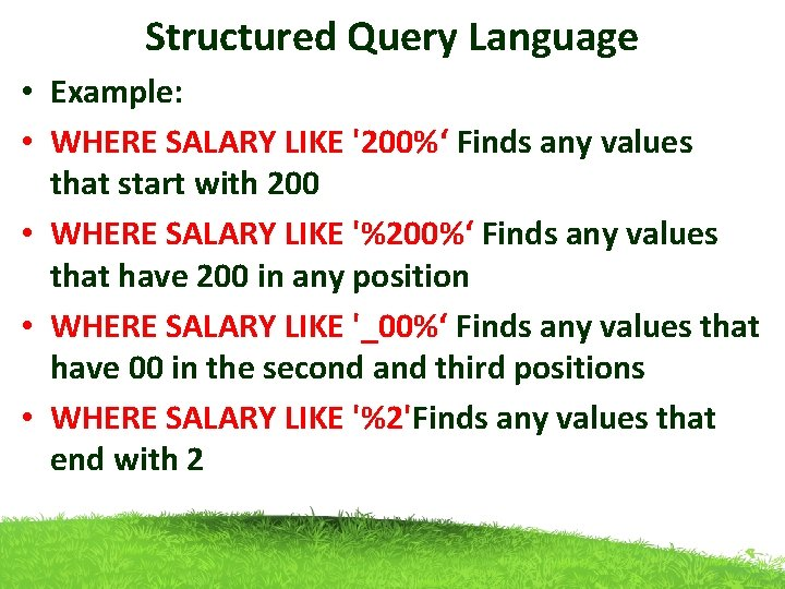 Structured Query Language • Example: • WHERE SALARY LIKE '200%' Finds any values that