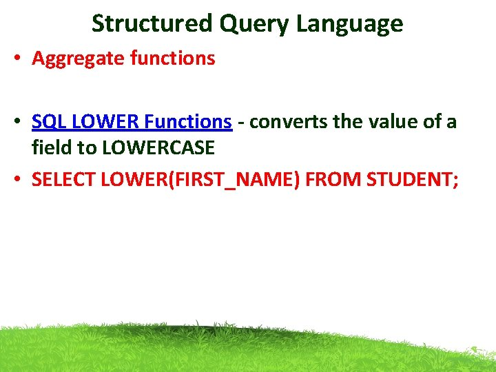 Structured Query Language • Aggregate functions • SQL LOWER Functions - converts the value