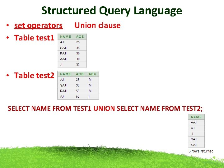 Structured Query Language • set operators Union clause • Table test 1 • Table