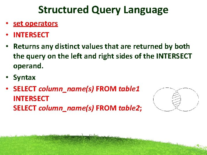 Structured Query Language • set operators • INTERSECT • Returns any distinct values that