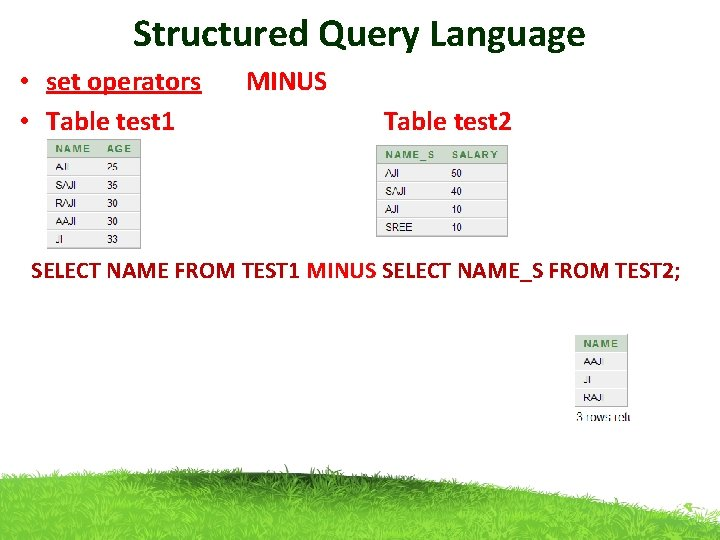 Structured Query Language • set operators MINUS • Table test 1 Table test 2