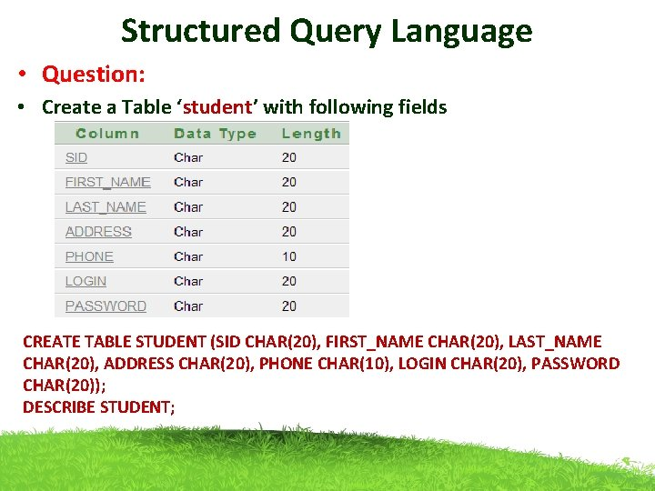 Structured Query Language • Question: • Create a Table 'student' with following fields CREATE
