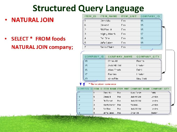 Structured Query Language • NATURAL JOIN • SELECT * FROM foods NATURAL JOIN company;