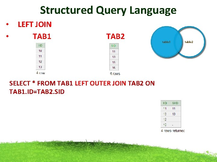 Structured Query Language • LEFT JOIN • TAB 1 TAB 2 SELECT * FROM
