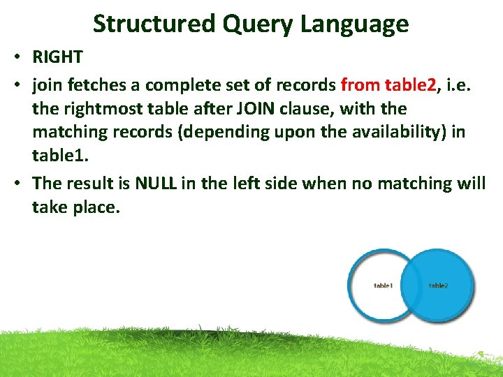 Structured Query Language • RIGHT • join fetches a complete set of records from