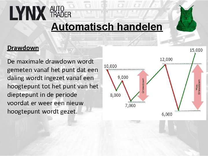 Automatisch handelen Drawdown De maximale drawdown wordt gemeten vanaf het punt dat een daling