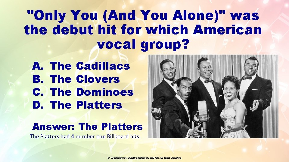 """""""Only You (And You Alone)"""" was the debut hit for which American vocal group?"""