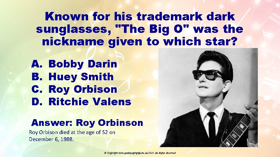 """Known for his trademark dark sunglasses, """"The Big O"""" was the nickname given to"""