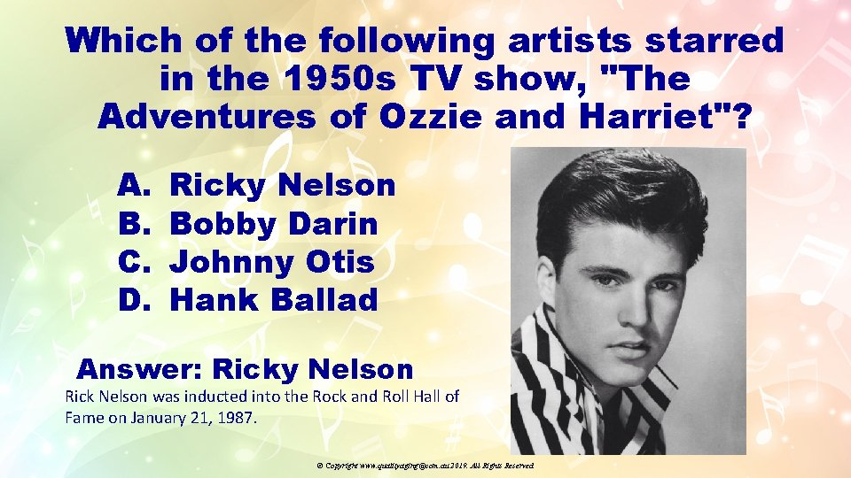 """Which of the following artists starred in the 1950 s TV show, """"The Adventures"""