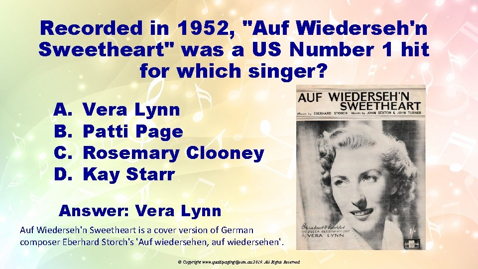 """Recorded in 1952, """"Auf Wiederseh'n Sweetheart"""" was a US Number 1 hit for which"""
