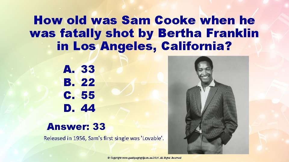 How old was Sam Cooke when he was fatally shot by Bertha Franklin in