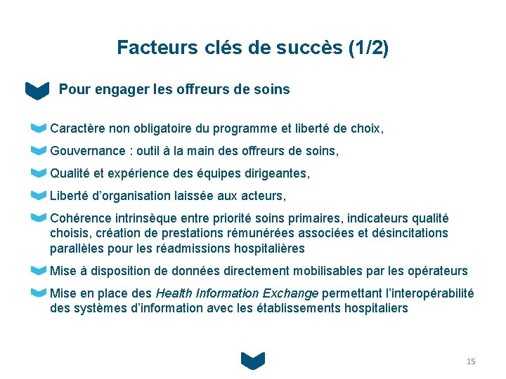 Facteurs clés de succès (1/2) Pour engager les offreurs de soins Caractère non obligatoire