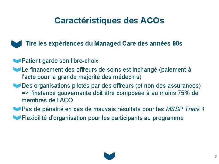 Caractéristiques des ACOs Tire les expériences du Managed Care des années 90 s Patient