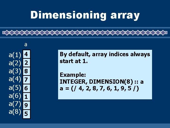 Dimensioning array a a(1) a(2) a(3) a(4) a(5) a(6) a(7) a(8) 4 2 8