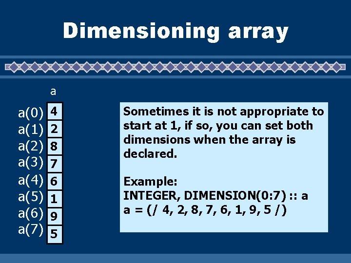Dimensioning array a a(0) a(1) a(2) a(3) a(4) a(5) a(6) a(7) 4 2 8