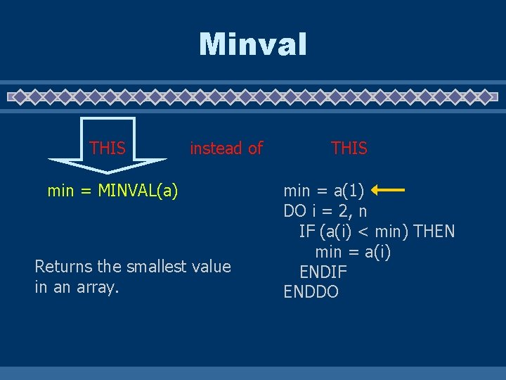 Minval THIS instead of min = MINVAL(a) Returns the smallest value in an array.