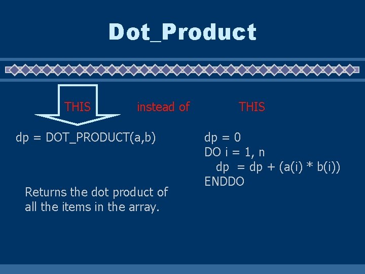 Dot_Product THIS instead of dp = DOT_PRODUCT(a, b) Returns the dot product of all