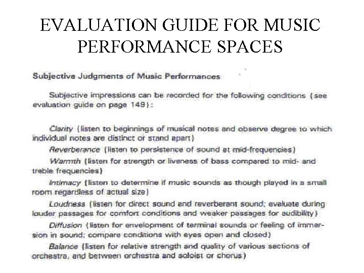 EVALUATION GUIDE FOR MUSIC PERFORMANCE SPACES