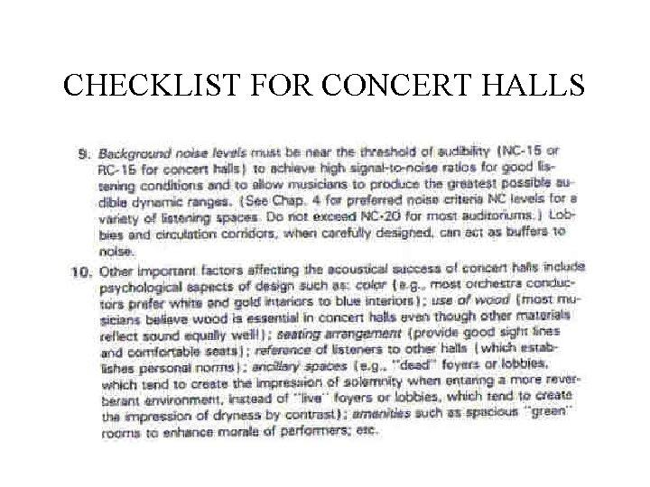 CHECKLIST FOR CONCERT HALLS