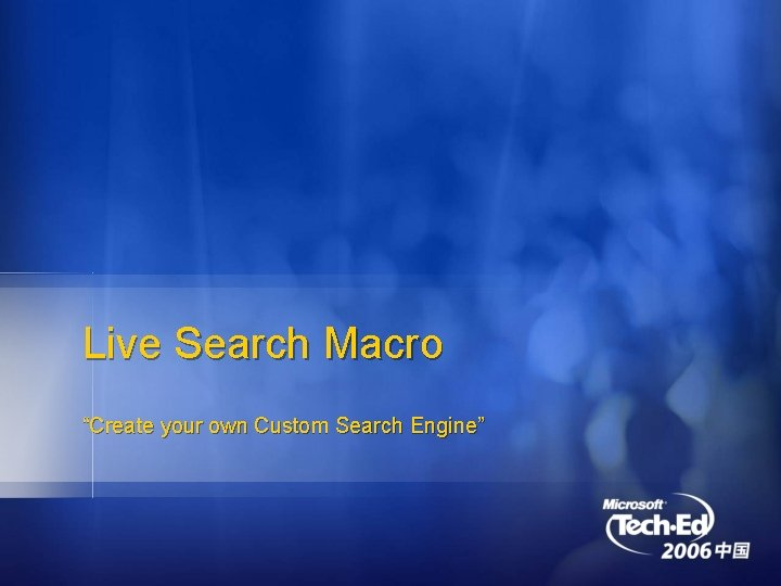 """Live Search Macro """"Create your own Custom Search Engine"""""""