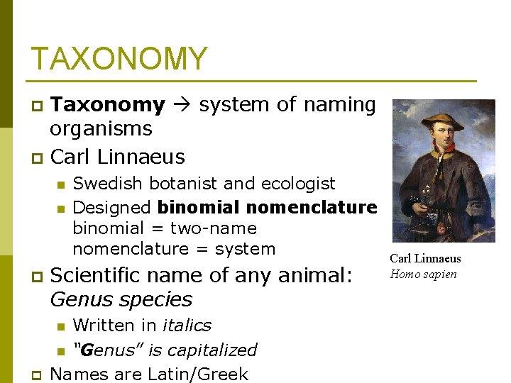 TAXONOMY Taxonomy system of naming organisms p Carl Linnaeus p n n p Scientific
