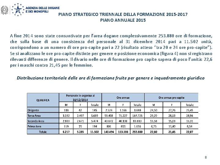 PIANO STRATEGICO TRIENNALE DELLA FORMAZIONE 2015 -2017 PIANO ANNUALE 2015 A fine 2014 sono