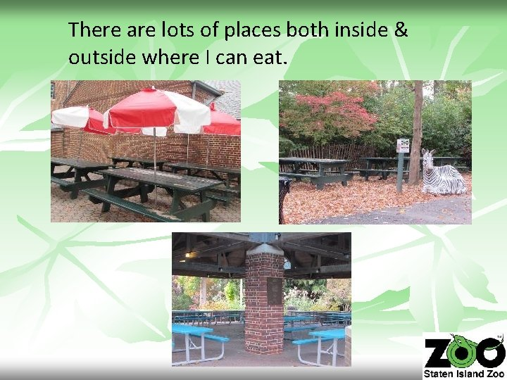 There are lots of places both inside & outside where I can eat.