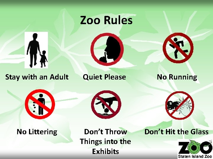 Zoo Rules Stay with an Adult Quiet Please No Running No Littering Don't Throw