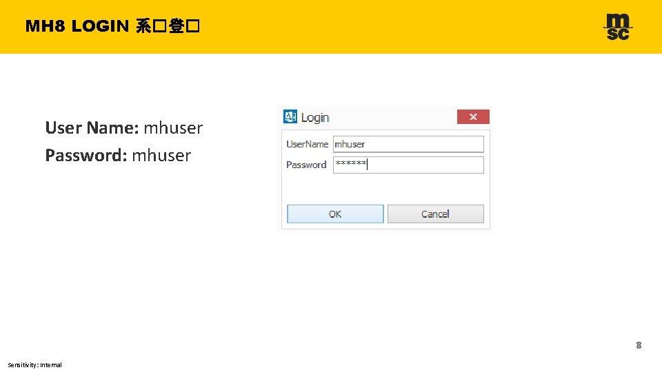 MH 8 LOGIN 系�登� User Name: mhuser Password: mhuser 8 Sensitivity: Internal