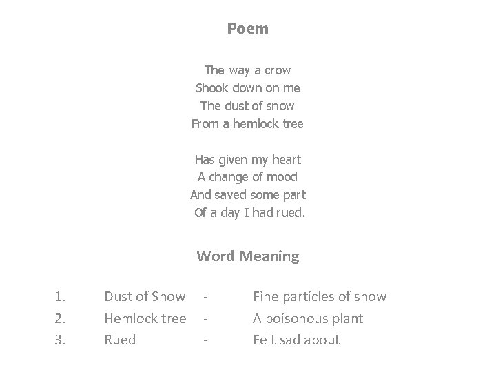 Poem The way a crow Shook down on me The dust of snow From
