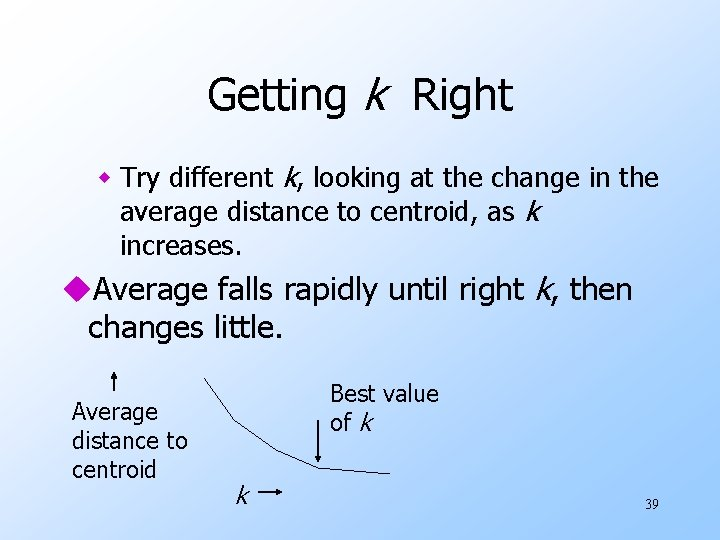 Getting k Right w Try different k, looking at the change in the average